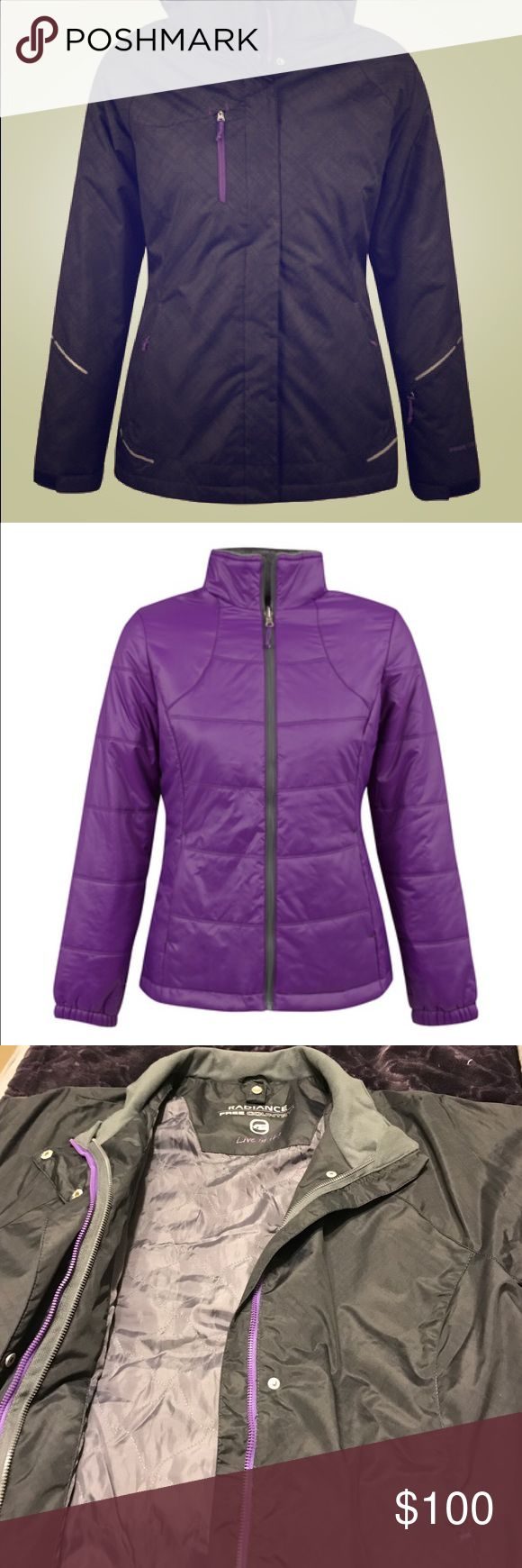 "Free Country ""Ibis"" Plus Size 3-in-1 Ski Jacket Free Country ""Ibis"" Plus Size 3-in-1 Ski Jacket. Black outer shell with purple fleece lined zip-in liner. This can be found on their website still. Size is 1X. Black and purple coloring. Fleece inside purple shell is a dark grey color. Warm, breathable and perfect for cold weather! Can wear the outer shell alone, the purple liner alone, or zip them together to stay extra warm! Only worn one time! Note: this does NOT come with the hood. Free…"