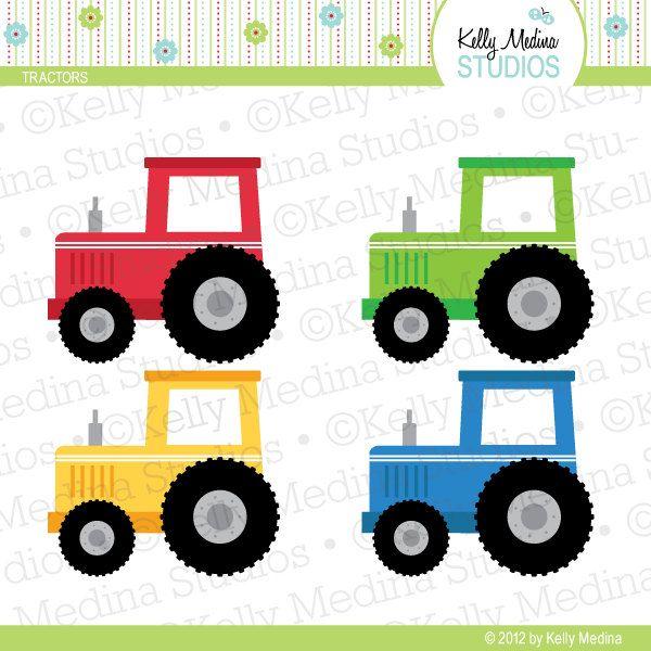 Tractores verde azul amarillo rojo Clip Art por Kellymedinastudios