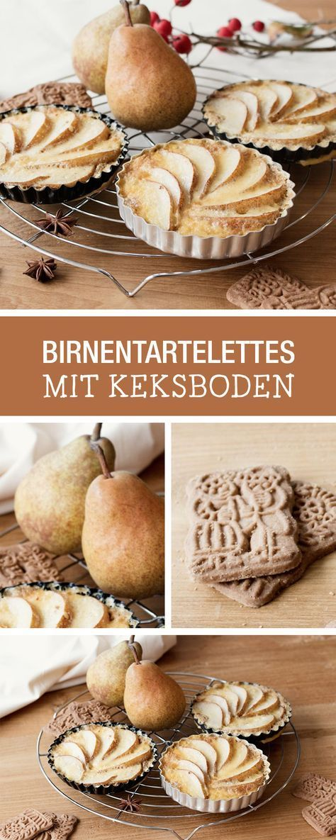 Backen im Herbst: Tartelettes mit Birnen und Spekulatius Boden / fall recipe: mini pies with pairs and almond biscuits, gingery cookies via DaWanda.com