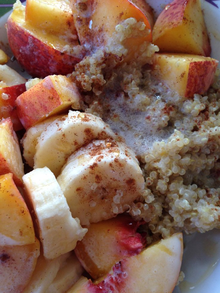 Almond Milk Quinoa with Peaches and Cinnamon The best breakfast ever.  Healthy carbs and fuel for the day.  Cook quinoa according to recipe but sub almond or soy milk for water.  (Careful when you cook it tends to get frothy when hot)  I like to cook this the night before and throw in the fridge , because I am always on the run in the morning.  When you wake up add almond milk, a hint of cinnamon and honey, and fruit! More @Leslie Cikra.wordpress.com