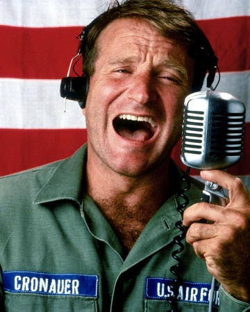 Good Morning Vietnam!  Politically tragic time, but made bearable by funny man Robin Williams