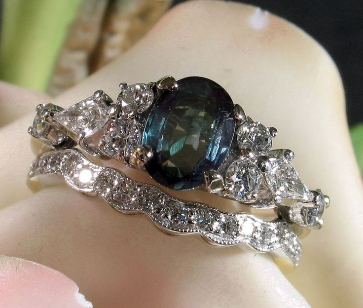 Vintage Alexandrite Engagement And Wedding Ring Set