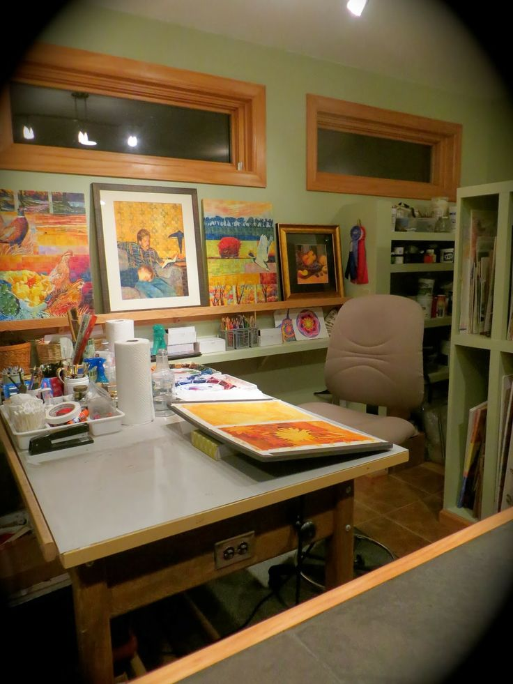 Home art studio. I like the shelves!