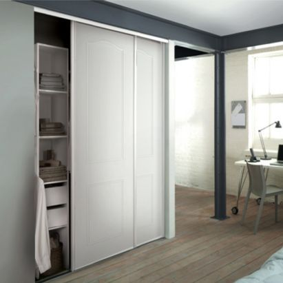 White Cathedral Arch Sliding Wardrobe Doors & Interior Units Value Kit, 0000003896679