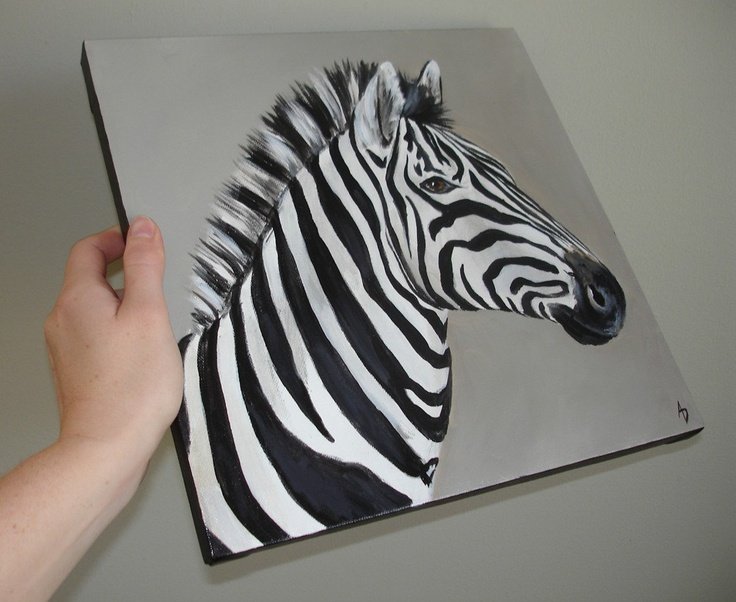 Wall painting ideas stripes - Animal Painting On Canvas Art Pinterest Zebra Painting