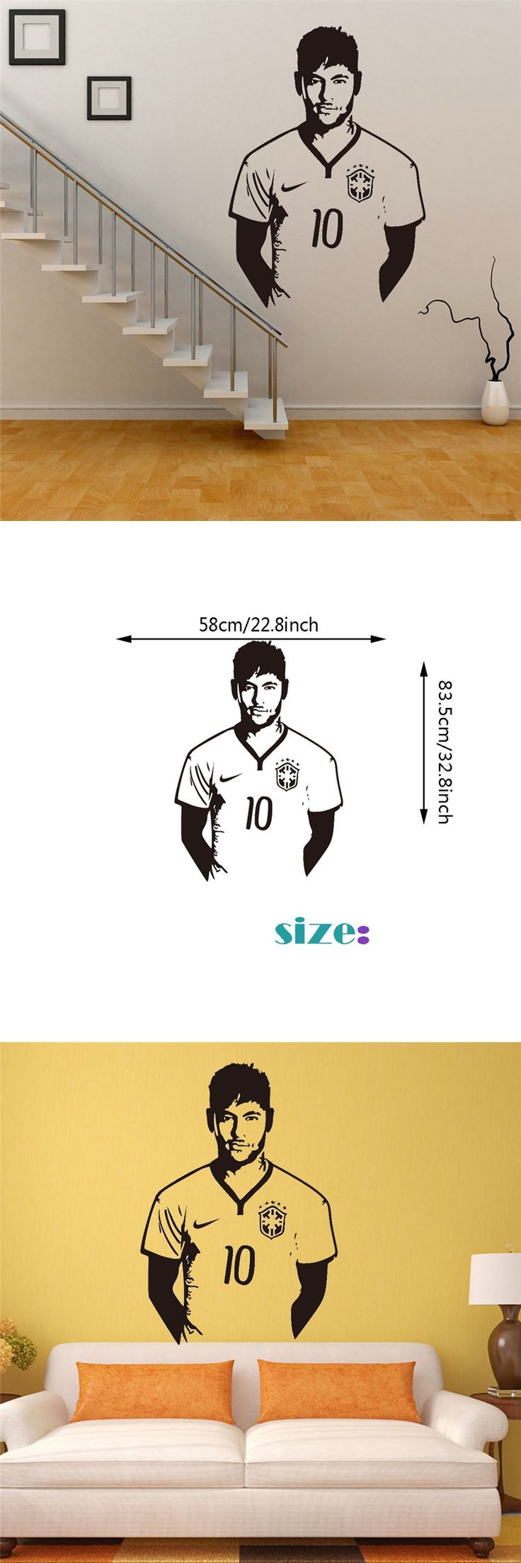 Handmade Graphic vinyl wall sticker of Football Star Neymar for kids room decorative wall decal mural vinilo pegatinas de pared