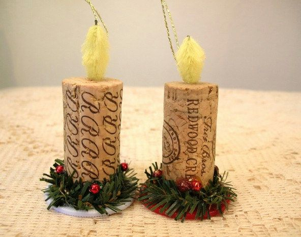 Cute!!! Wine Cork And Poker Chip Candle Ornament Recycled. $5.50, via Etsy.