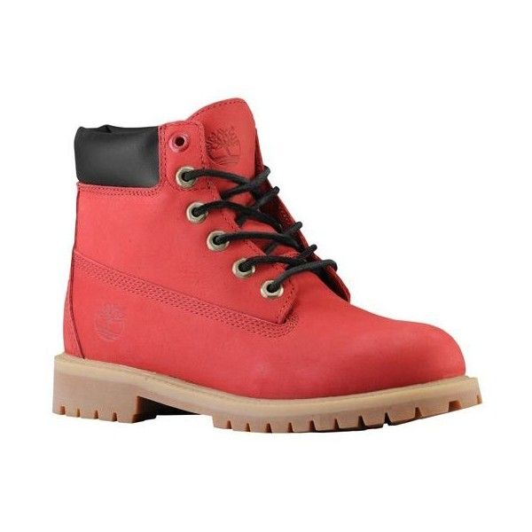 "Timberland 6"" Premium Waterproof Boot Boys' Grade School featuring polyvore, shoes, boots, timberlands, clothing and sneakers"