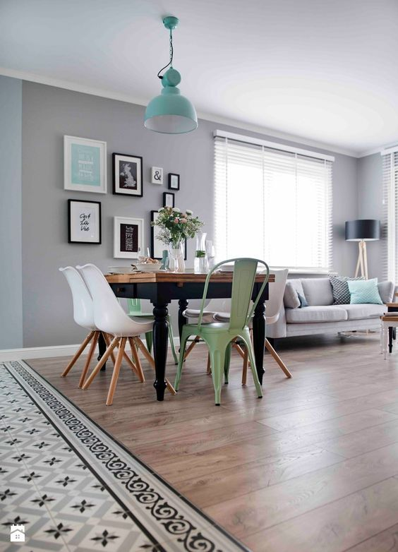 Un sal n de pinterest en gris blanco y mint pastel for Sillas de comedor color gris