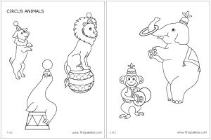 Circus animals - there is a second pdf on the site to print stands for the animals.