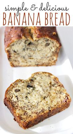 Simple Banana Bread Recipe - Easy to make and freezes well. All ingredients are pantry staples (just add ripe bananas!).