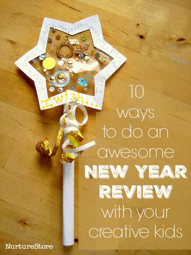 How to do a new year review with your kids - creative ideas for kids of all ages including some fun new years crafts