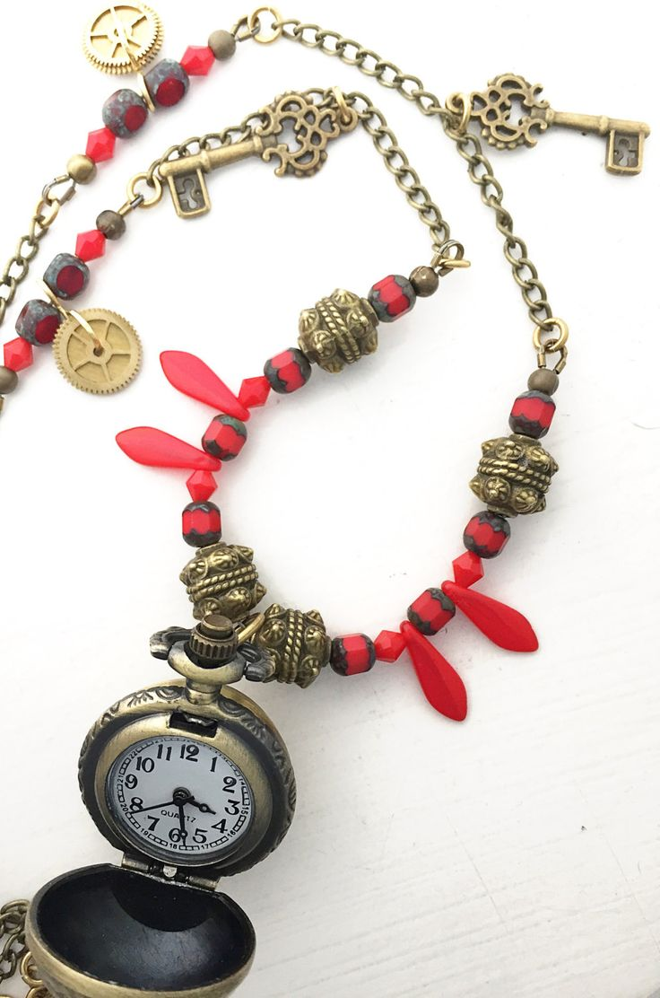 "Steampunk pendant watch necklace in red and bronze, 22"" - 24"" (adjustable) by ShereesTrinketBox on Etsy"