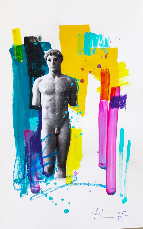 "Davide Ricchetti ""Efebo of Crizio"" mixed media on paper , 2016"