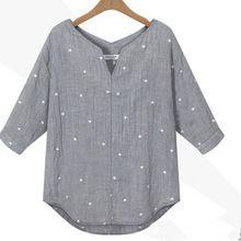 Nueva otoño del verano Blusas 2016 mujeres con cuello en v 3/4 de la manga Tops Casual suelta estrella impreso blusa camisetas tallas grandes camisas(China (Mainland))