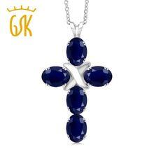 Moda Plata de Ley 925 2.75 Ct Óvalo Azul Zafiro Colgante Cruz Mujeres Aniversario Collar de Piedras Preciosas Naturales Gema Piedra Rey(China)