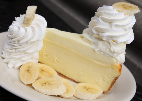 A crust of crushed vanilla wafers is filled with banana cheesecake and pudding-like Bavarian cream.