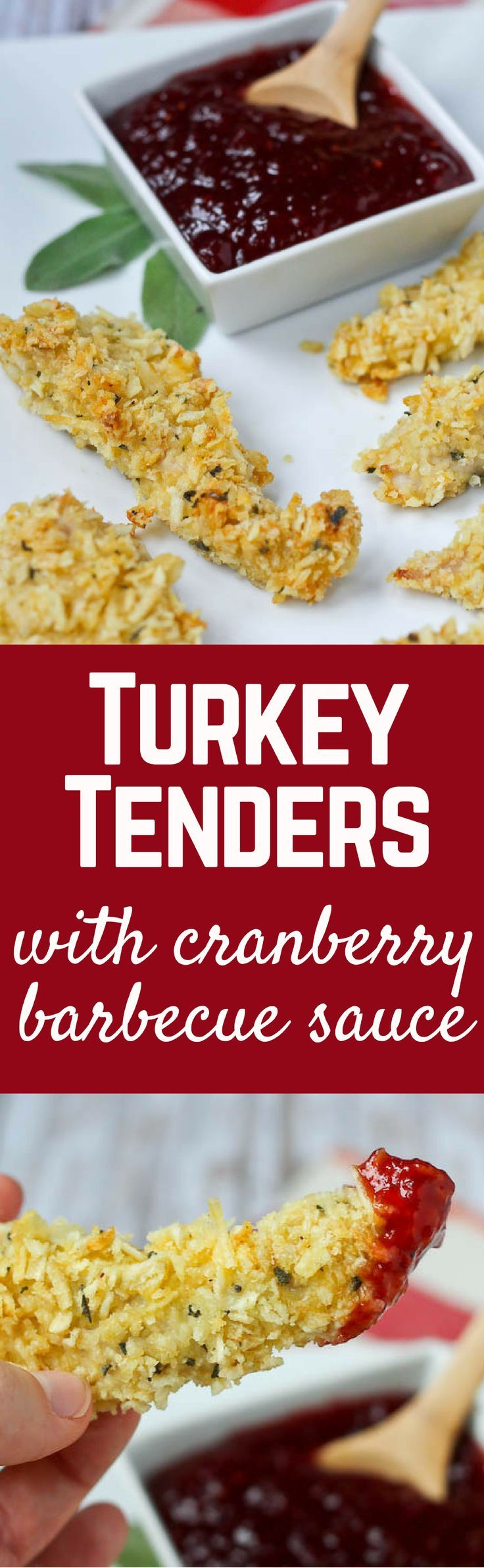 """""""These turkey tenders are coated in crispy potato chips and fresh sage for a fun take on Thanksgiving turkey. Complete this meal with cranberry barbecue dipping sauce."""