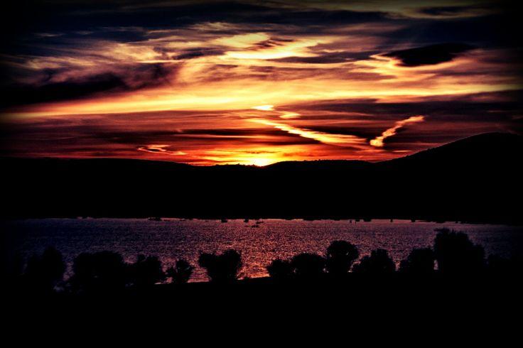 Gün batımı, baraj.