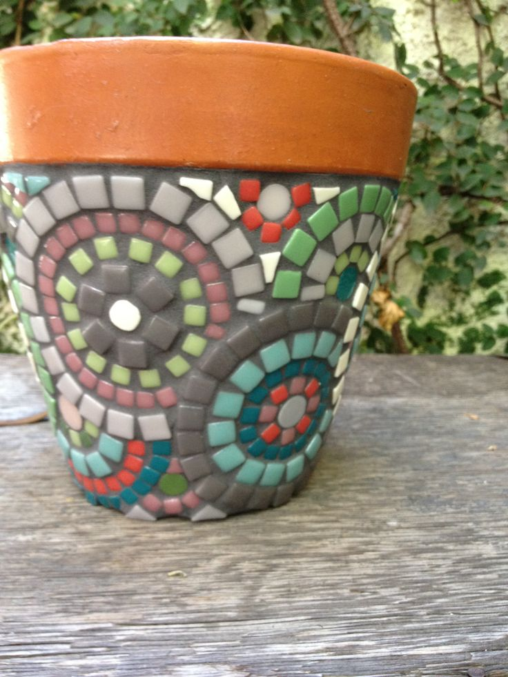 Handmade mosaic flower pot