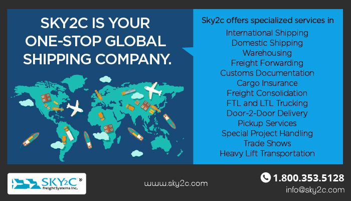 Sky2C is your one-stop global shipping company, offering specialized services in International and Domestic Shipping, Warehousing, Freight Forwarding, Customs Documentation, Cargo Insurance, Freight Consolidation, FTL and LTL Trucking, Door-2-Door Delivery, Pickup Services, Special Project Handling, Trade Shows, Heavy Lift Transportation and many more.