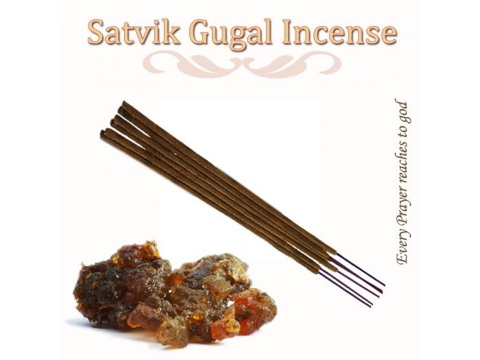 Satvik Gugal Incense sticks is hand rolled using a traditionally blended paste made from the best ingredients and perfumed with the fragrance of gugal. http://vedicvaani.com/index.php?route=product/product&product_id=2694  has been a key component in ancient Vedic rituals and Indian Ayurvedic system.