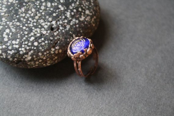 DragonGlass blue ring от LikeAGlassShop на Etsy