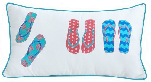 Do you love summer as much as we do? Then you will love our bright, embroidered Flip Flops outdoor Sunbrella pillow.