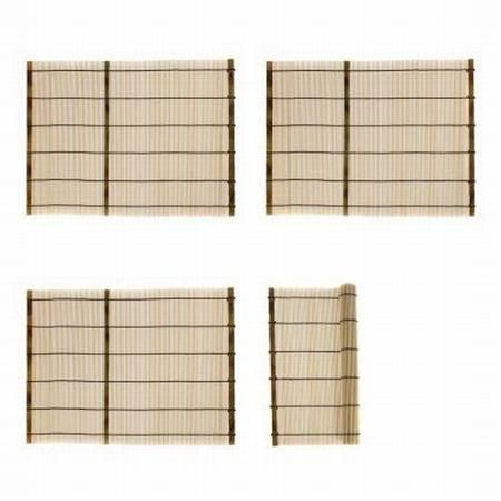"""4 Bamboo Placemat Set Authentic Asian Table Setting Sushi Thai Chinese 16""""x 12"""" - Walmart.com"""