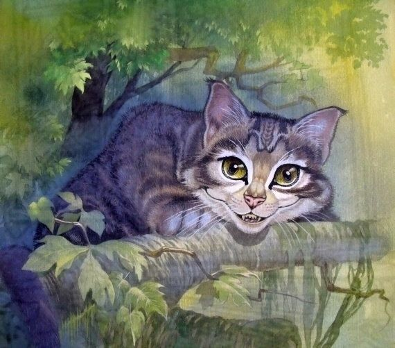 """Cheshire Cat-borrowed this from Alice Liddell's board, Thank you Alice! I love this Cheshire Cat's wonderful wildcat grin! He reminds me of an European Wildcat.In the UK, a few are thought to still prowl the Scottish Highlands. Their decline is sad, since these little cats are adorable. To quote Dr. Douglas Tallemy;""""We have taken it all!""""(meaning the world, flooded with legions of prolific humans who think our needs supercede all of our living brethren's rights! )"""