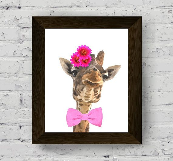 animal print for nursery, giraffe wall art, funny animals watercolor, baby room poster, safari printable artwork, instant digital download