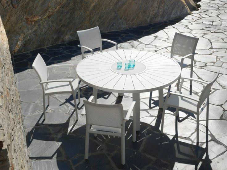 Table de jardin ronde en aluminium aspen jati kebon 992 outdoor pintere - Table ronde en aluminium ...