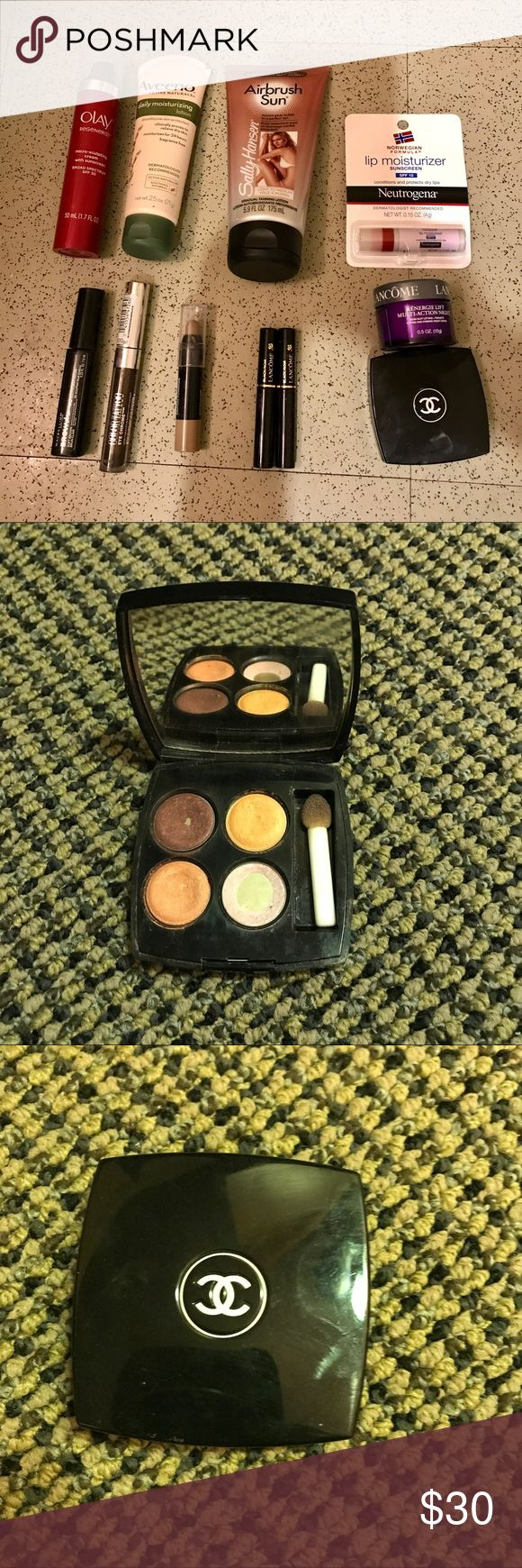 ✨ HUGE MAKEUP HAUL ✨ Over $150 worth of makeup/skincare! All new except the Chanel palette & Maybelline set is VERY lightly used. Includes: Chanel Quadra Eye Shadow set, two Lancôme mascaras (noir), Lancôme Multi-Action night cream, Maybelline Brow Drama sculpting brow mascara in soft brown, Maybelline Brow Drama Pomade Crayon, Maybelline Eye Chrome Color Tattoo (dark brown), Neutrogena lip moisturizer, Olay Regenerist micro-sculpting cream, Aveeno lotion, Sally Hansen Airbrush Tanning…