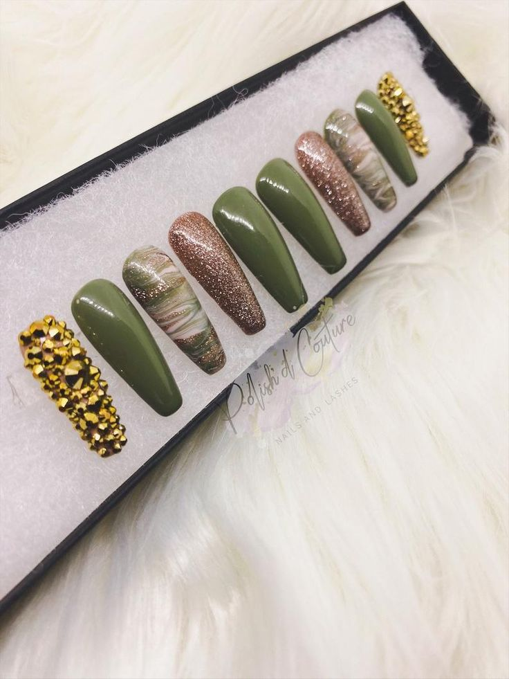 Army green marble press on nails press on nails glue on