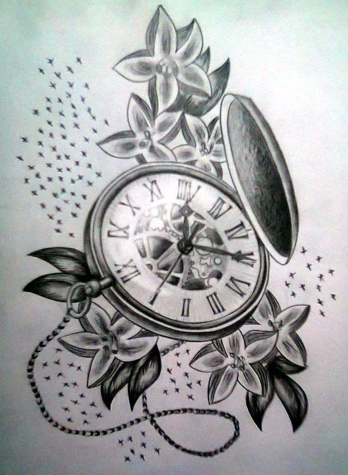 Clock Tattoo Design Sketch