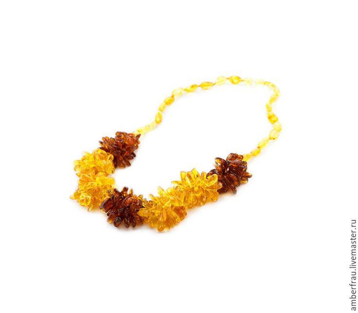 Купить Колье из янтаря ёжики с оливкой (арт. 040) - желтый, янтарь, янтарь купить