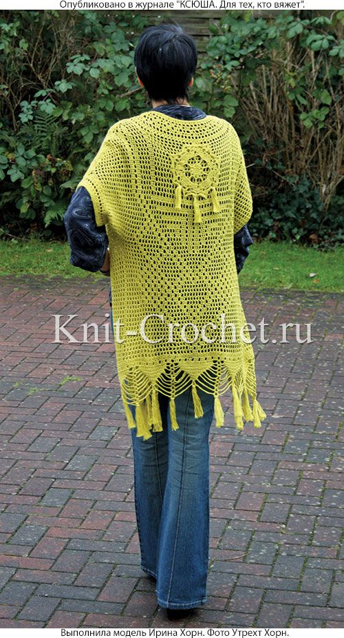 Female cardigan with short sleeves size 44-46, crocheted. (Seen from behind)
