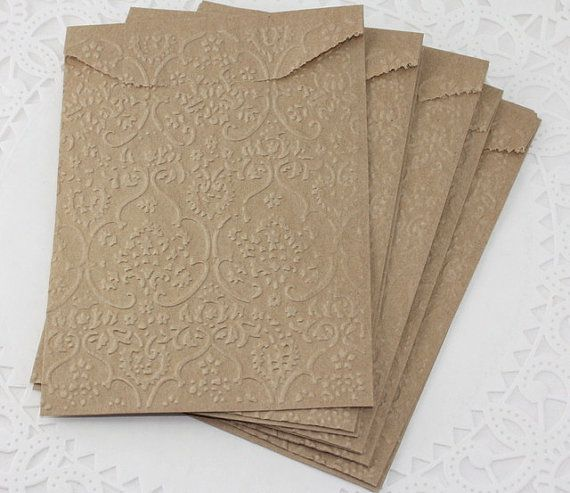 "Kraft Paper Gift Bags - Your Choice Embossed Designs - 6 3/4"" x 4"" - 25 Bags on Etsy, $7.50"