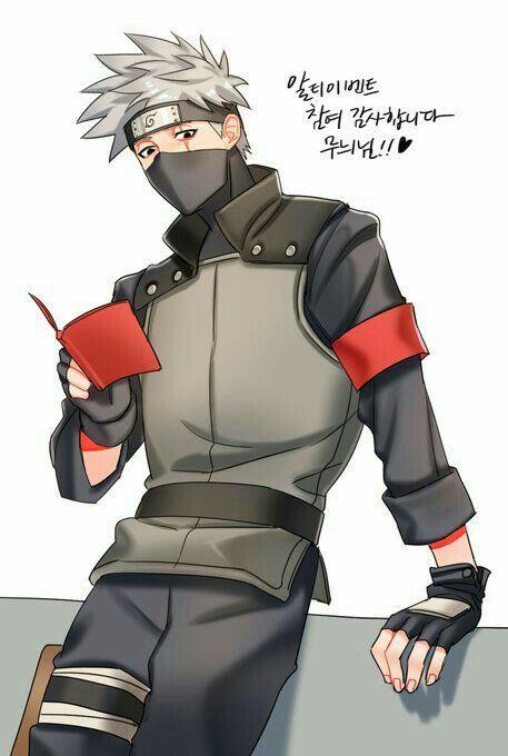Hatake Kakashi, reading, book, text; Naruto