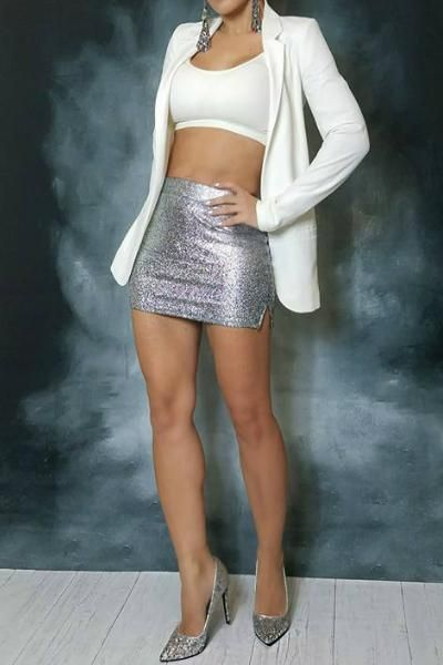 Metallic Stretch Micro Mini Skirt - Silver