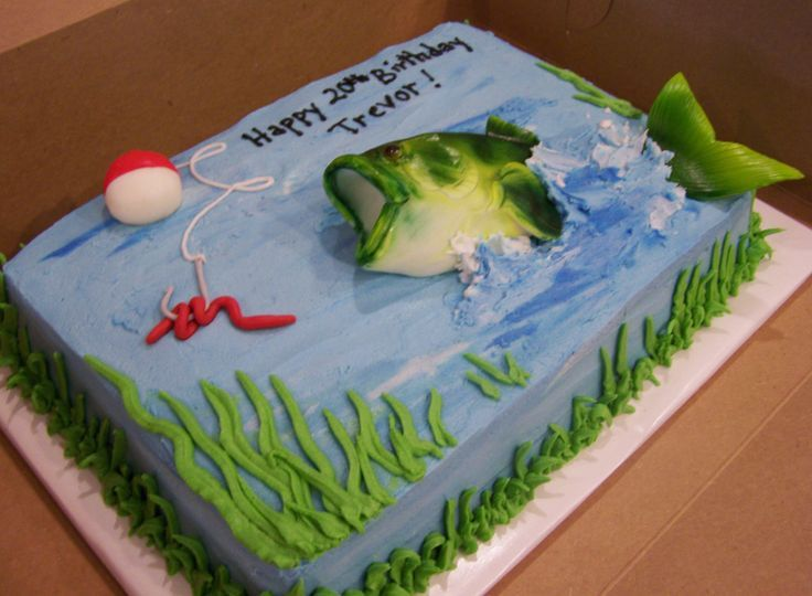 25 best ideas about fishing birthday cakes on pinterest for Fishing themed cakes