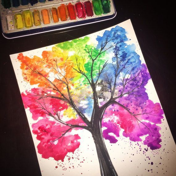 Hand Painted Watercolor Tree Colorful Rainbow Original
