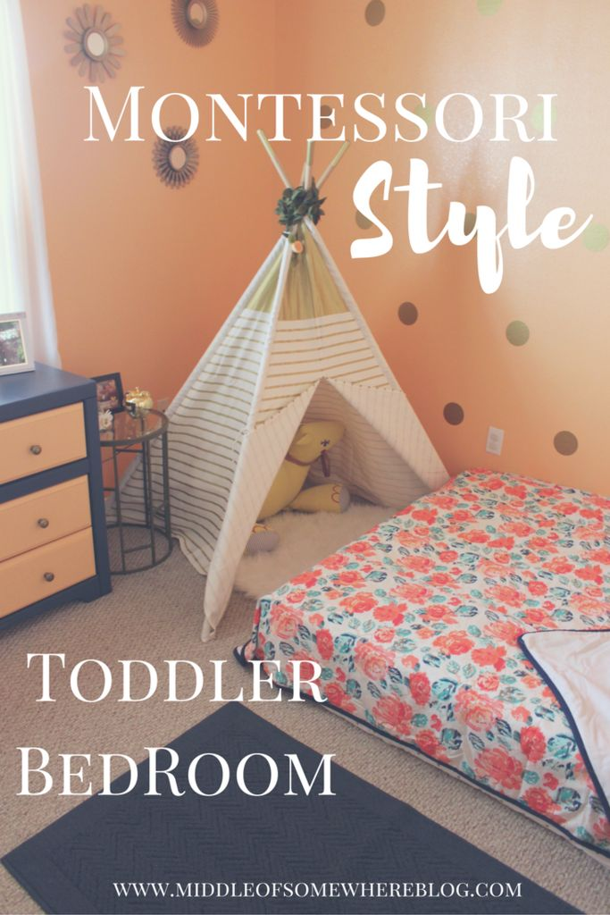 Montessori inspired toddler room with floor bed; peach, navy, and gold toddler room reveal