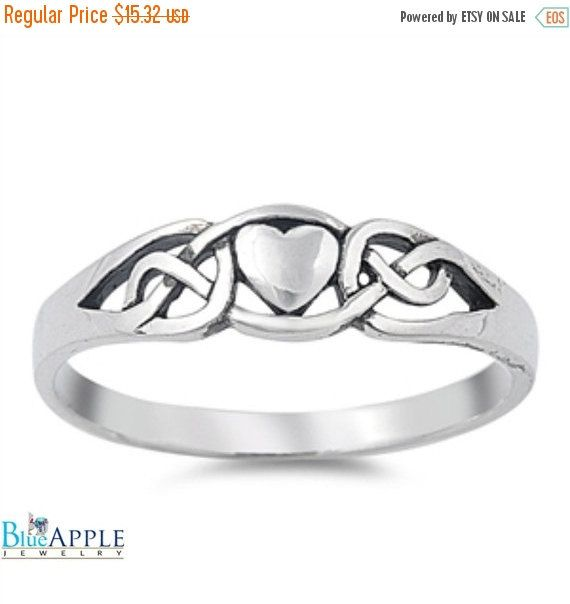 Celtic Knot Heart Ring Solid 925 Sterling by BlueAppleJewelry