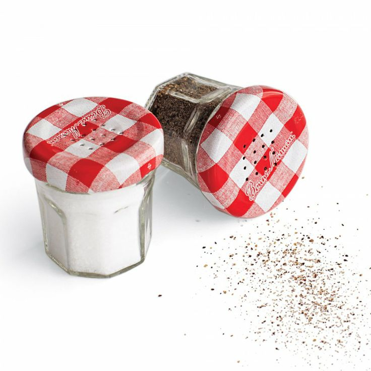 Such a cute idea for old jam jars - punch holes in the top to make salt and pepper shakers.