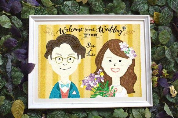 《送料無料》【weddingウエルカムボードA3】似顔絵オーダーメイド|イラスト|mielfactory|ハンドメイド通販・販売のCreema