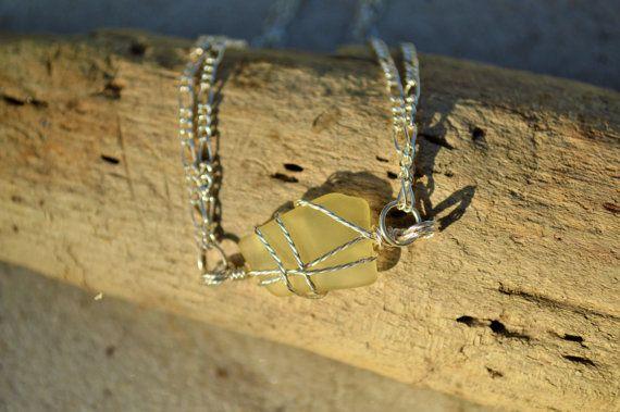 Yellow Sea Glass Bracelet ~ Genuine Rare Texas SeaGlass Jewelry ~ Beach lover ~ bohemian wire wrapped ~ Beach glass Valentine gift