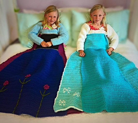 Anna and Elsa Crochet Blanket Patterns. Two PDF files available immediately after purchase. Three Sizes included: Small Child, Child, and Adult.