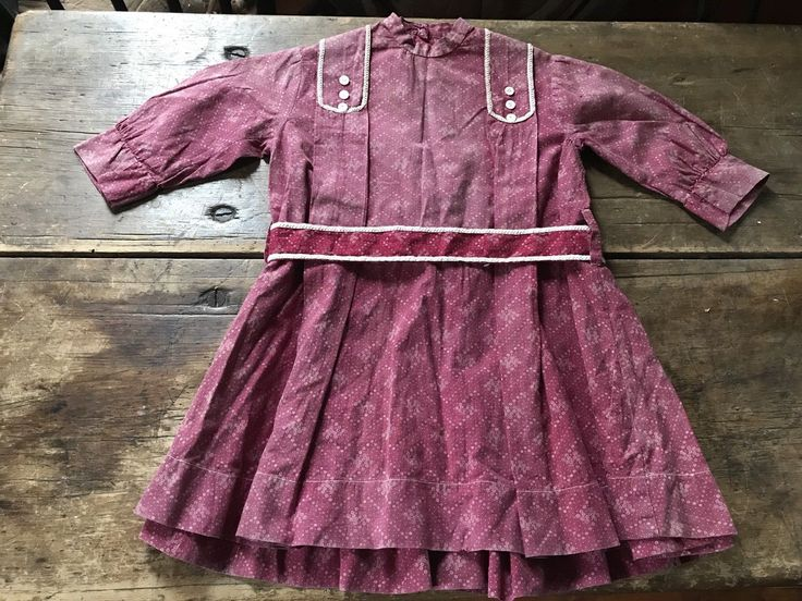 BEST Early Old Antique Plum CALICO Little Girls Dress Handmade Textile AAFA RARE | eBay