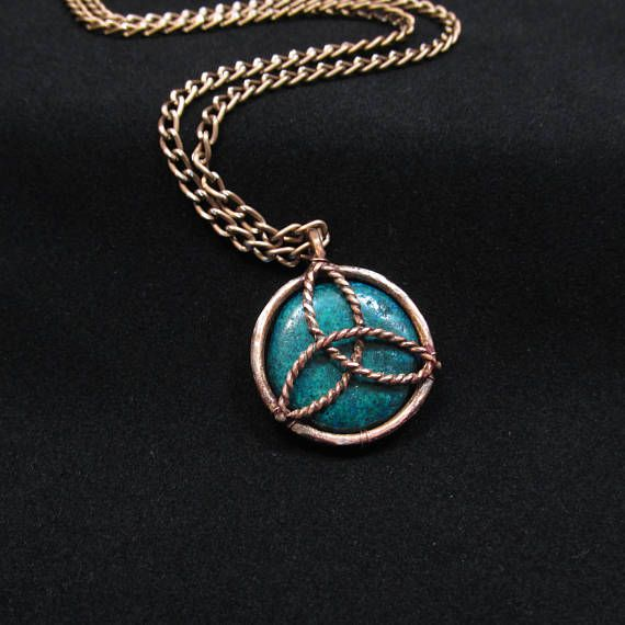 Vikings jewelry necklace celtic pendant handmade gift for him copper celtic gifts for wife gift for girlfriend gift for man Triquetra